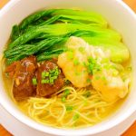 Noodles in Soup with Beef Brisket and Shrimp Wanton