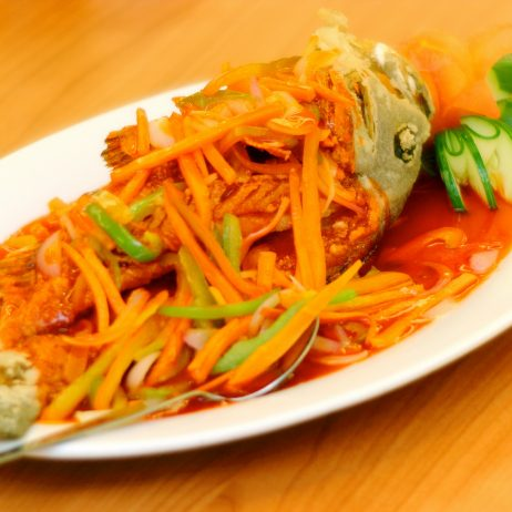 Fried Lapu-lapu with Sweet and Sour Sauce