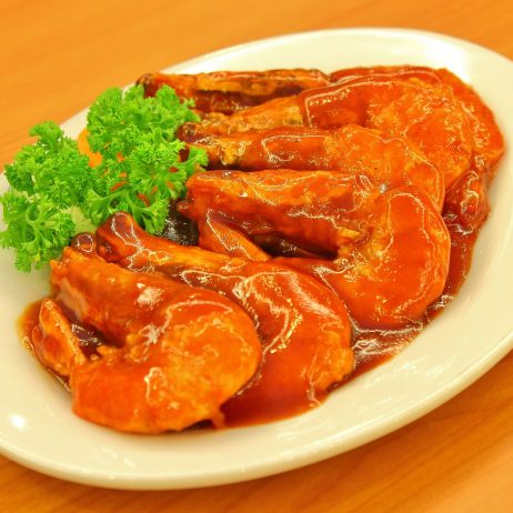 Fried Prawns with Alexander Sauce
