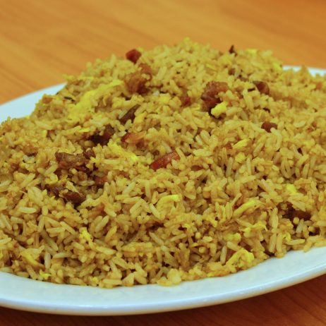Fried Rice with Barbequed Pork and Chinese Sausage
